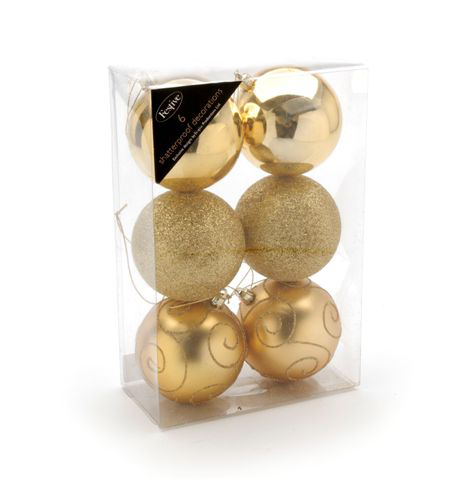 6 Gold  Shatterproof Christmas Baubles