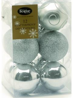 12 Silver Shatterproof Christmas Baubles