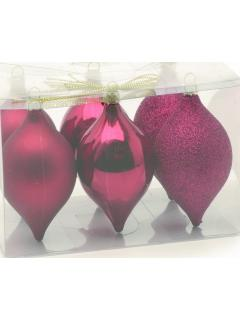 6 Burgundy  Red Shatterproof Baubles