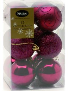 12 Burgundy  Red Shatterproof Christmas Baubles
