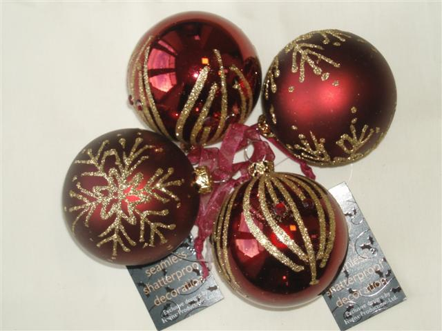 4 Red Shatterproof Baubles