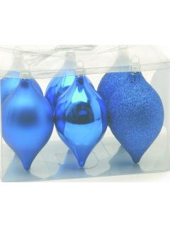 6 Royal Blue Shatterproof Christmas Baubles