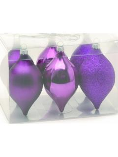 6 Purple Shatterproof Tear Drop Christmas Baubles