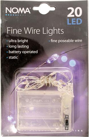 Battery Lamps Decorative on Lights    Battery Lights    20 Blue Led Fine Wire Battery Lights