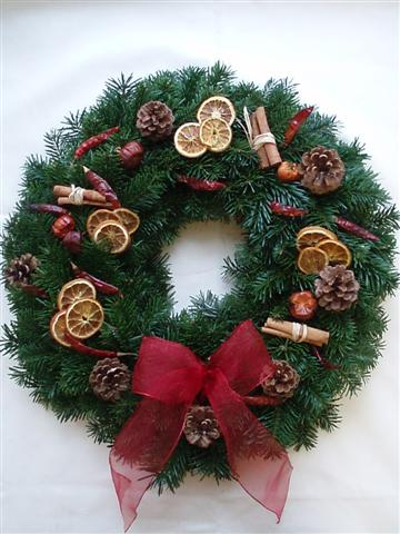 Christmas wreath made from Christmas tree foliage