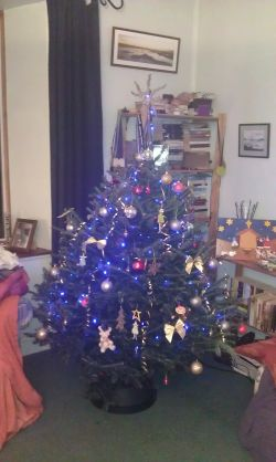 Christmas tree fully decorated