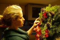 Kim decorating wreaths
